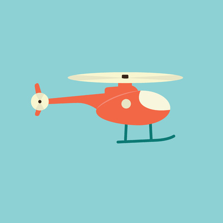 Red helicopter. Vector illustration design