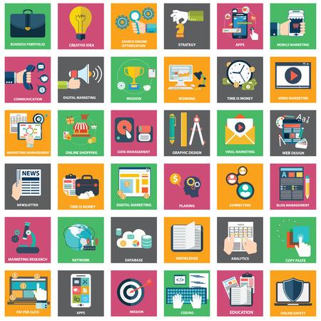 correo electronico: Iconos de marketing digital, la publicidad de v�deo, campa�a de medios sociales, promoci�n de noticias, pago por servicio de clic, optimizaci�n de sitios web seo