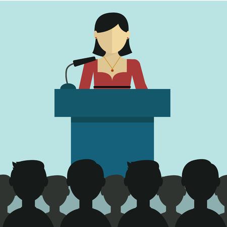business meeting room: flat modern design Businesswoman  giving a presentation.
