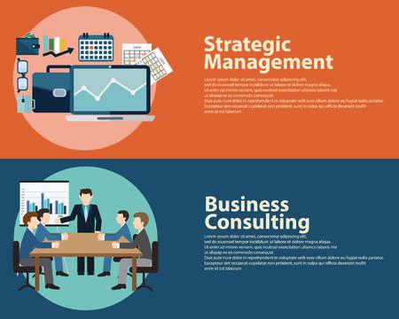 플랫 스타일의 비즈니스 성공 전략 관리 개념 및 비즈니스 컨설팅. 웹 배너 템플릿 설정