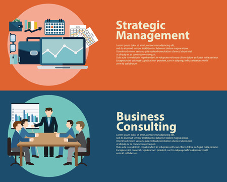 financial symbols: Flat style business success strategy management concept and Business Consulting.  Web banners templates set Illustration