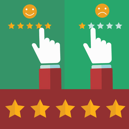 Vector customer review concepts in flat style - male hand choosing positive review.