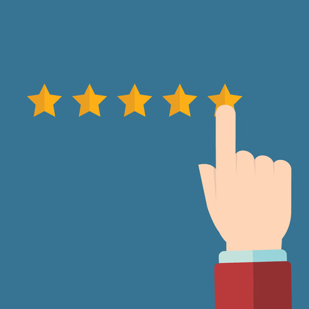 evaluacion: Vector de revisión del cliente conceptos en estilo plano - mano masculina elegir crítica positiva.