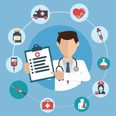 Doctor with medical icons in a circle. Illustration