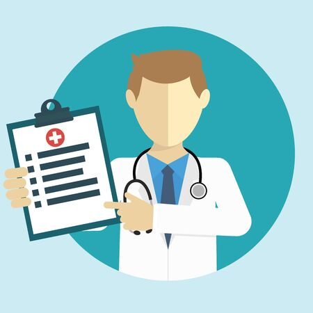 diagnoses: Doctor showing diagnoses flat design Illustration