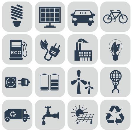 Ecology icons set on grey Illustration