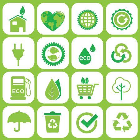 antipollution: Ecology icons set on grey Illustration