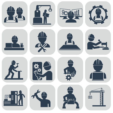 craftsmen: Engineering vector icons set on gray.