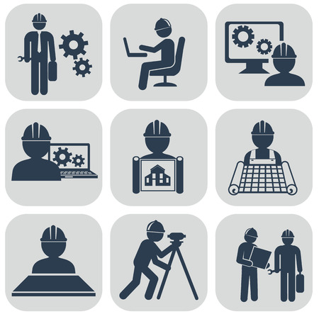 worker civil engineer: Ingeniería iconos conjunto de vectores en gris. Vectores