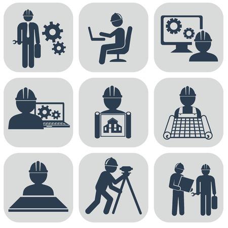 Zestaw ikon wektorowych Inżynieria na szarym.