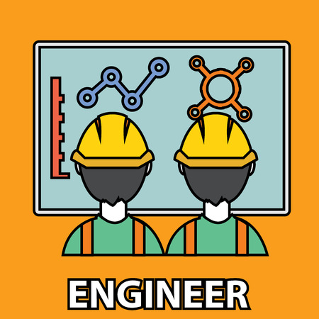 factory workers: Engineer construction manufacturing worker flat design.