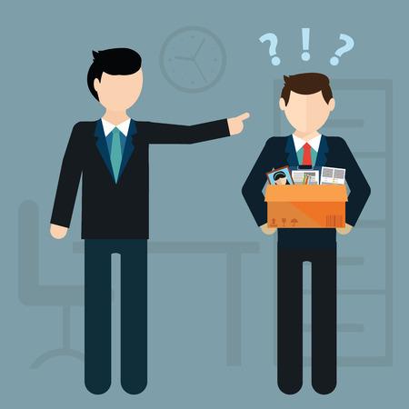 Ontslag concept. Baas ontslagen werknemer. Flat vector illustratie Stock Illustratie