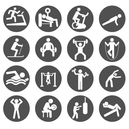 남자 사람들이 운동 체육관 체육관 바디 빌딩 운동 건강 교육 운동은 기호 픽토그램 아이콘 기호. 일러스트