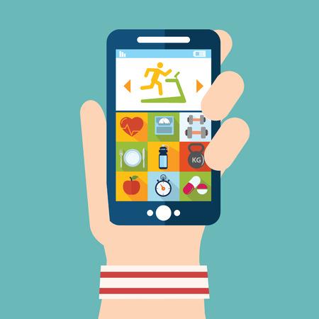 salud y deporte: Mano que sostiene un tel�fono con el levantamiento de pesas ilustraci�n vectorial aplicaci�n planificador