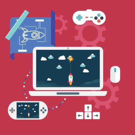 Abstract flat vector illustratie van game-ontwikkeling concepten. Design elementen voor mobiele en web applicaties