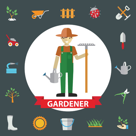 watering garden: Man gardeners standing with their garden tools. Environmental activities. Gardening icons set.