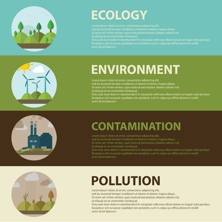 Flat design vector concept illustration with icons of ecology, environment, green energy and pollution. web banner. Çizim