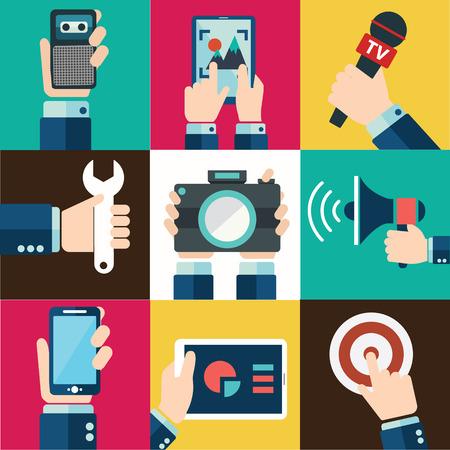 Moderne vlakke pictogrammen vector collectie in stijlvolle retro kleuren van de mobiele telefoon, digitale tablet en andere apparaten met behulp van met de hand-symbool. Geïsoleerd op een witte achtergrond.