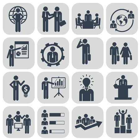 Human resources en management iconen set. Stock Illustratie