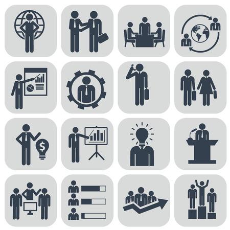 personas hablando: Los recursos humanos y los iconos de gesti�n establecidos.