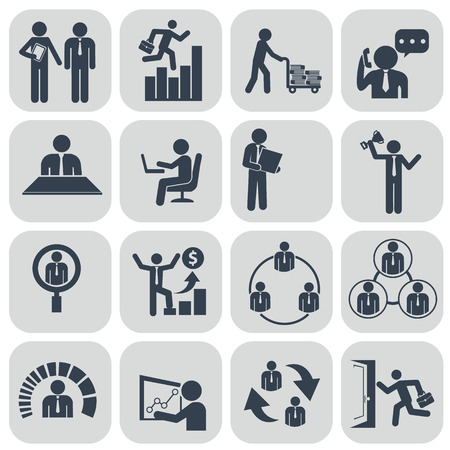 job functions: Human resources and management icons set. Illustration