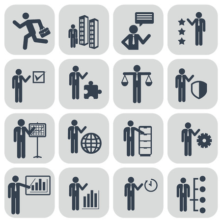 job functions: Human resources and management icons set