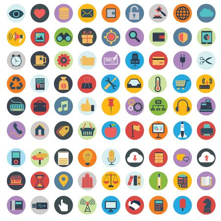 web mail: Flat icons design modern vector illustration big set of various financial service items, web and technology development, business management symbol, marketing items and office equipment on background
