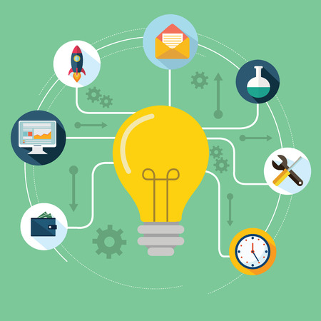 productive: Concept of productive business ideas. Lightbulb with drawing graphics around Illustration