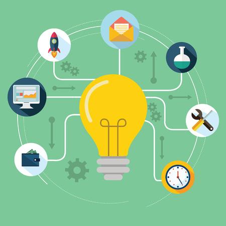 Concept van de productieve zakelijke ideeën. Gloeilamp met tekening graphics rond