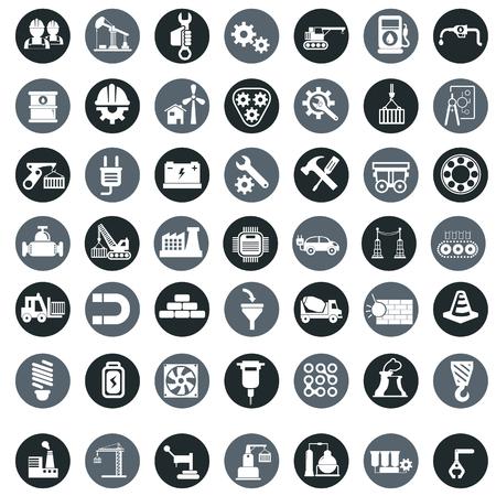 Vector industrie fabriek iconen set. Stock Illustratie