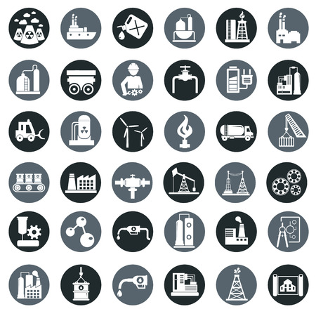 Vector industry factory icons set. Illustration