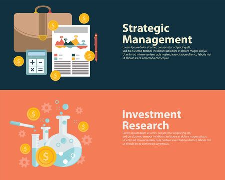 insecurity: Flat style business success strategy target infographic concept and Investment research.  Web banners templates set..