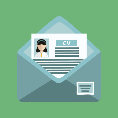 envelope with a cv on the green background. Illustration