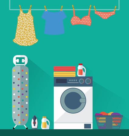 lavadora con ropa: Lavadero Servicio de lavandería. ilustración vectorial Vectores