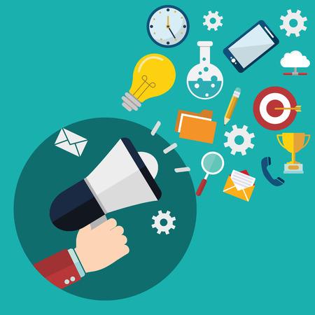 Flat design stylish vector illustration megaphone with cloud of colorful application icons on media theme. Digital marketing concept. Isolated on stylish turquoise background. Stock Illustratie