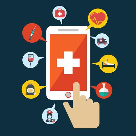 emergencia medica: Aplicación de la Salud en un teléfono inteligente. Abra con la mano del cursor. Vector icono