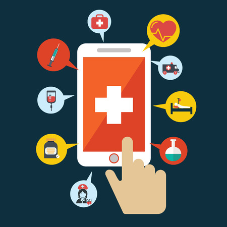 medical emergency service: Health application on a smartphone. Open with hand cursor. Vector icon