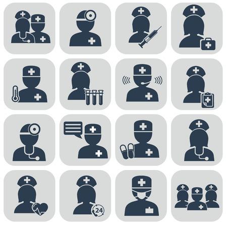 profesiones: Doctor y enfermeras iconos en gris