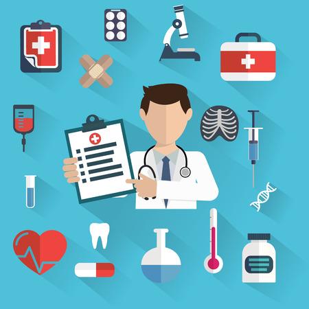 Platte gezondheidszorg en medisch onderzoek achtergrond. Gezondheidszorg concept. Geneeskunde en chemische technologie