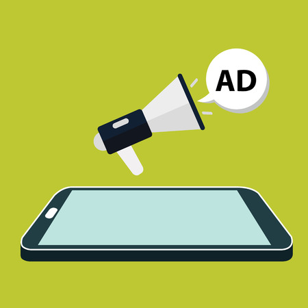 mobile marketing: Flat isometric mobile phone marketing.