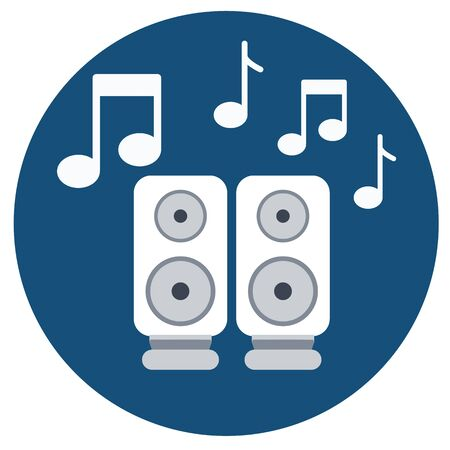 audio speakers icon with music notes.