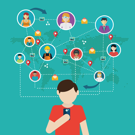 collaborate: Social network, people connecting all over the world. Illustration
