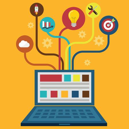 Netwerk en Responsive Adaptive Web Design met Vector Icons. Stock Illustratie