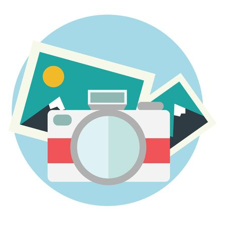 images icon: Photo camera illustration in flat color design.