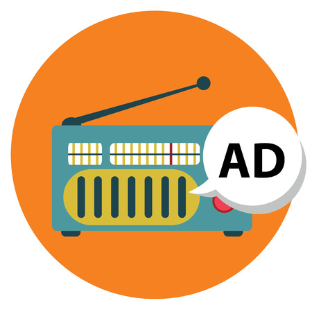 Radio-icoon met ad teken, radio marketing. Stock Illustratie