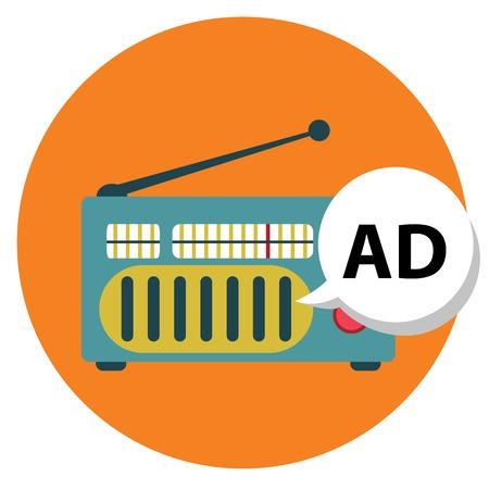 Radio icon with ad sign, radio marketing.