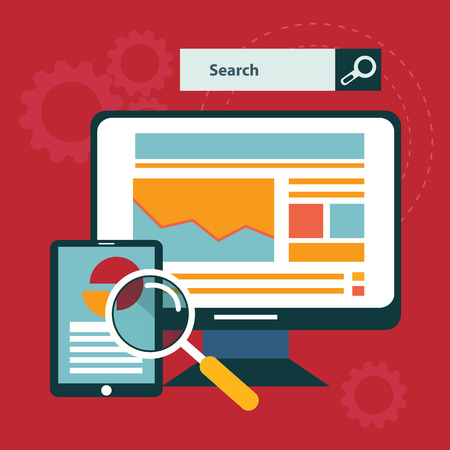 Illustration of SEO concept in flat style. Vectores