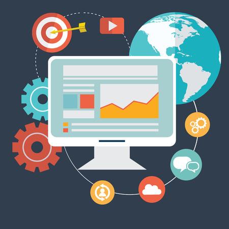 Platte ontwerp moderne vector illustratie iconen set van de website SEO optimalisatie, programmering en web analytics-elementen. Geïsoleerd op stijlvolle gekleurde achtergrond.