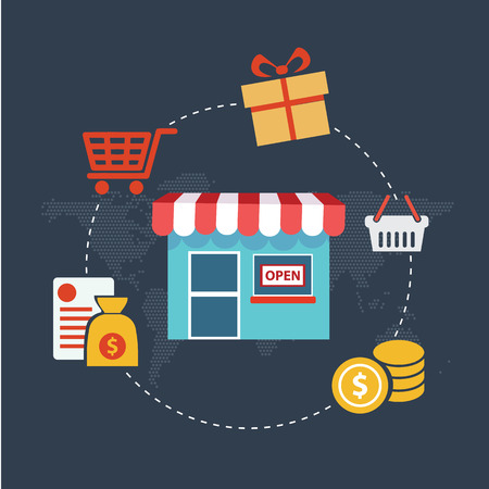 emarketing: Flat design modern vector illustration concept of pay per click internet shopping. Isolated on stylish background.