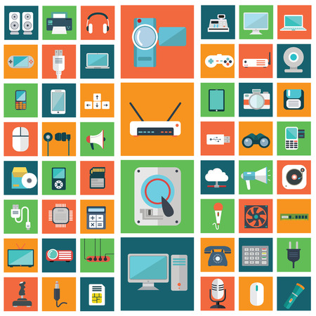 Set of modern flat electronic devices icons. Stock Illustratie